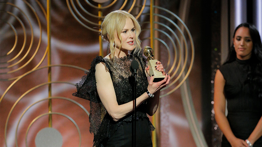 "75th ANNUAL GOLDEN GLOBE AWARDS -- Pictured: (l-r) Nicole Kidman, ""Big Little Lies"", winner Best Performance by an Actress in a Limited Series or Motion Picture Made for Television at the 75th Annual Golden Globe Awards held at the Beverly Hilton Hotel on January 7, 2018 -- (Photo by: Paul Drinkwater/NBC)"