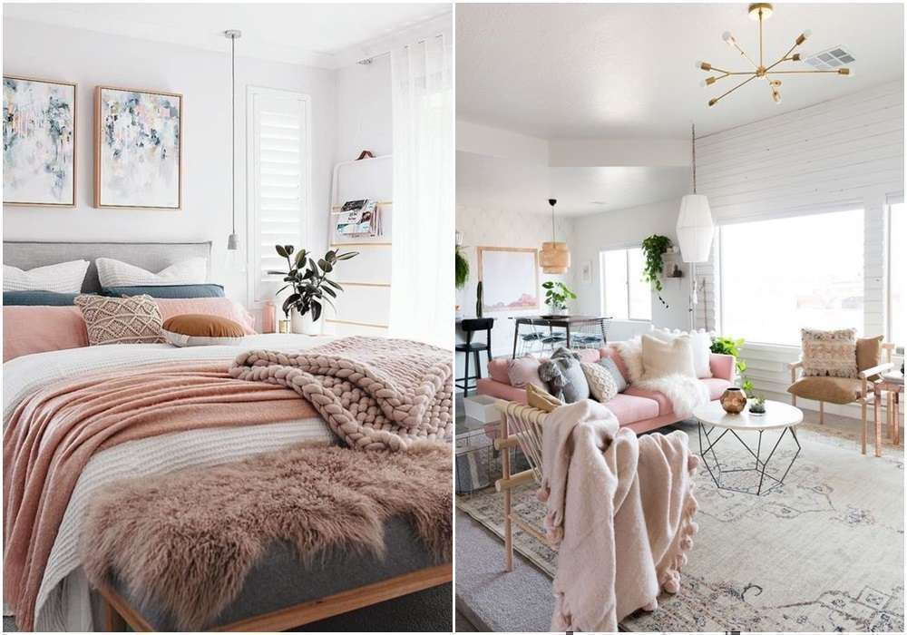 White Pink Feminine Bedroom Inspiration Cozy Beds