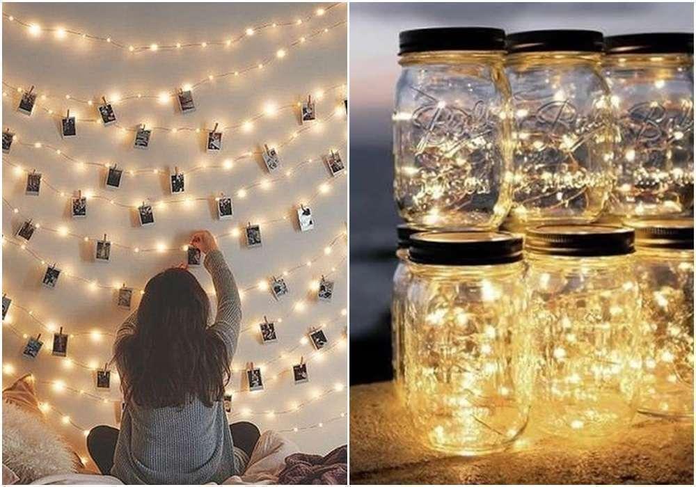Decoração com varal de fotos com luzinhas led #ad #decoração #homedecor #decor #luzinhas #varaldefotos #quarto